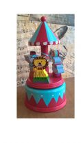 Wooden vintage theme musical carousel